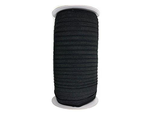 Fold Over Elastic Roll 5/8' Foldover Elastic FOE Stretch Elastic for Headbands or Hair Ties - 100 Yards (Black)