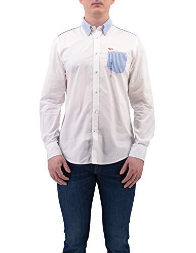 Harmont & Blaine - Camisa azul de algodón con bolsillo