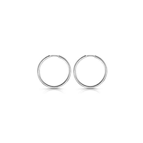 Amberta® 925 Sterling Silber Edle Ringe Mit Geschlossener Ring – Kleine Runde Kreolen Ohrringe - Durchmesser: 20 30 40 60 80 mm (20mm)