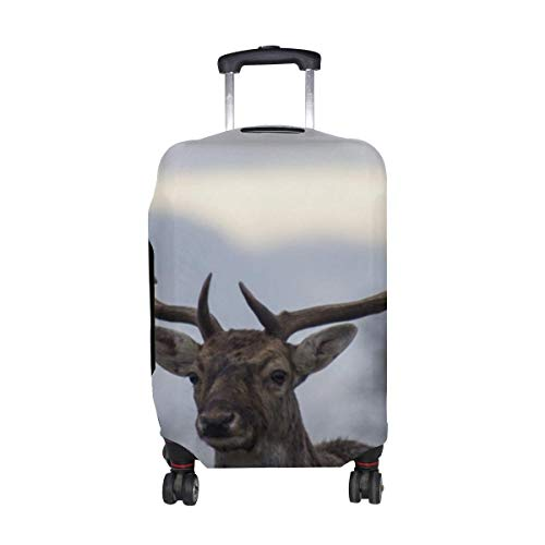 Deer Antlers Pattern Print Travel Luggage Protector Baggage Suitcase Cover Fits 18-21 Inch Luggage
