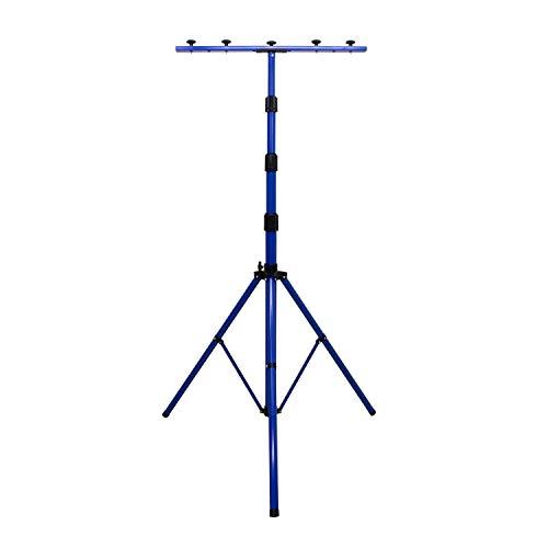 as - Schwabe Profi XL Stativ für LED-Strahler / Halogen-Strahler – Stativ mit Universaltraverse geeignet zur Halterung von Baustrahlern und Leuchten I Höhenverstellbar bis 4,00 m – Blau I 46751