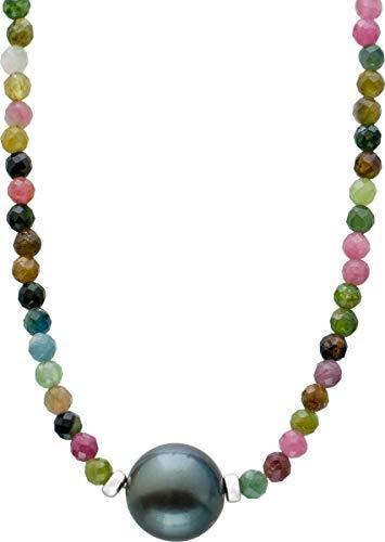 ch.abramowicz facettierte multicolore turmalin edelstein kette collier schwarze tahitiperle 10MM 38+7cm