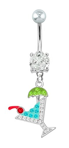 Aqua & Clear cz Cocktail party drink dangle Belly button navel Ring piercing bar jewelry 14g