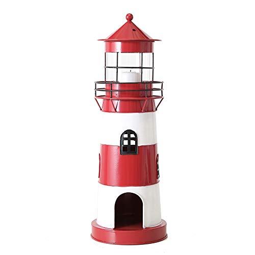 Boltze Laterne Leuchtturm rot weiß aus Metall Windlicht maritim Strandhaus Deko - KLEIN