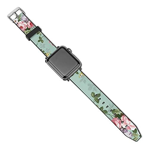 La última correa de reloj compatible con Apple Watch Band 38 mm 40 mm Correa de repuesto para iWatch Series 5/4/3/2/1, Vintage elegante rosa rojo patrón