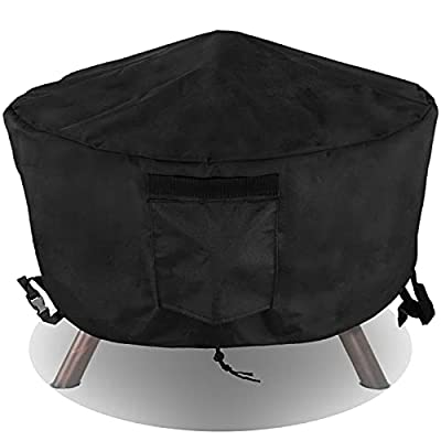 PatiosGuard Waterproof Fire Pit Cover Round 32 x 16 inch, 600D Heavy Duty with PVC Lining & Windproof Buckles Fit for Patio Gas Propane Firepit Bowls 26 28 30 32 inch
