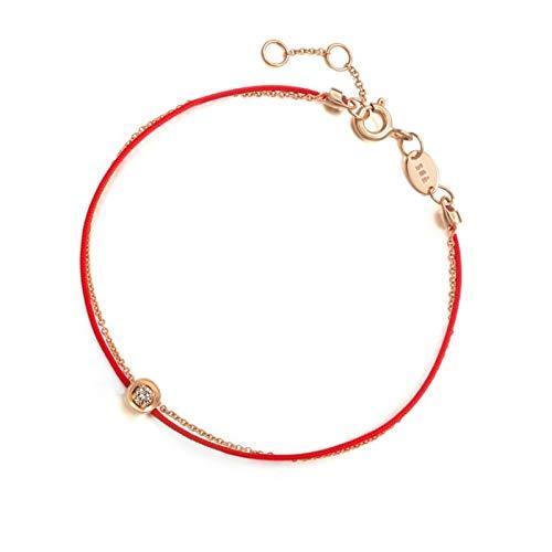 Blisfille Pulsera de Plata Estrellas Joyería Pulsera Boda Plata Pulsera de Forma Redonda Pulsera de Oro Rosa,Oro Rosa
