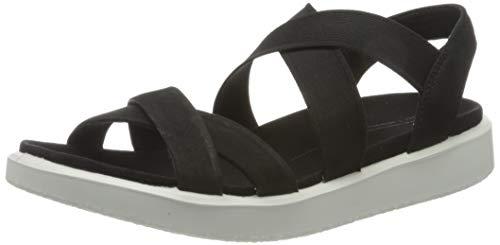 ECCO Women's Flowt Elastic Sandal, Black Nubuck, 7-7. 5