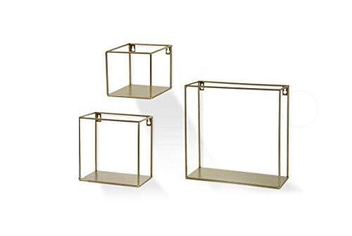 Gicos Set 3 mensole da Parete bacheca in Metallo Colore Oro quadrate Shabby Chic IRO-770081