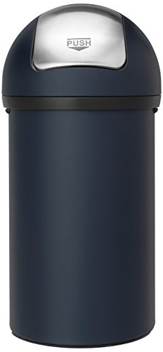 Brabantia Push Bin - Cubo de basura, 60 litros, Azul (Mineral Blue)