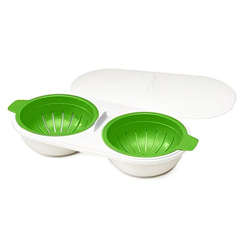 Dusdombr Microwave Eggs Poacher Food Grade Double Cup Egg Boiler Ovens Breakfast Cookware Kitchen Steamed Poached Egg Gadget NonStick Fast Egg Steamer Cooking Mold with Lid Green