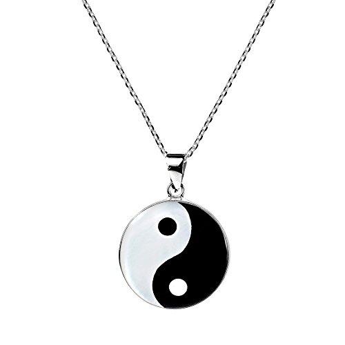 AeraVida Yin and Yang Taoism Balance of Life .925 Sterling Silver Pendant Necklace