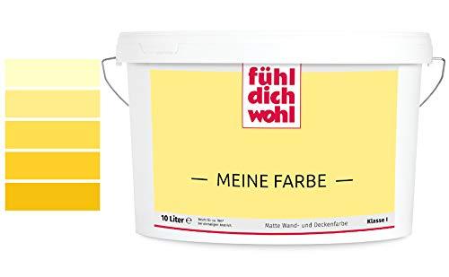 Fühl Dich Wohl Meine Farbe gelb, matte Wandfarbe gelb, hohe Deckkraft, verschiedene Gelbtöne zur Auswahl (2,5L, Cremegelb E7-22)