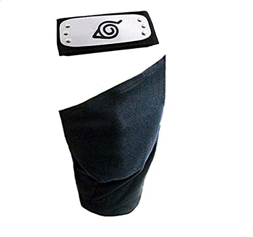 Leaf Village Headband and Unisex Hatake Kakashi Cosplay Mask Veil(Black)