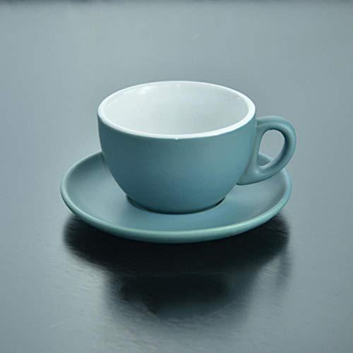 Bekers Schotels Set Eenvoudige Stijl Matting Italiaanse Espresso Tasse Cup Schotel Sets Oolong Thee Nespresso Latte Keramische Koffie Beker Tazas Copo 240ml Blauw