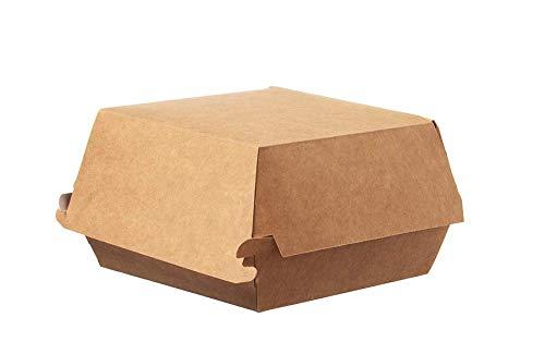All Natural Hamburger-Box Nature 100% biologisch abbaubar 300 Stück braun/weiß aus Kraft-Papier 11,5 x 10,5 x 8 cm