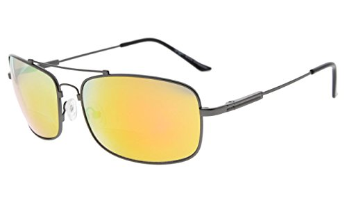 Eyekepper Bifokal Sonnenbrille mit biegsamer Brücke und Bügel Erinnerung Lesen Sonnenbrille Leicht Titan (Gunmetal Rahmen Orange Spiegel, 1.50)