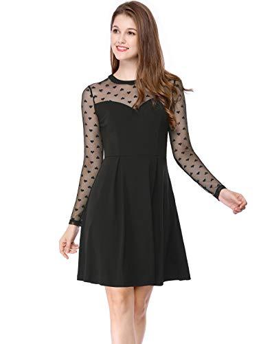 Allegra K Women's Heart Polka Dots Mesh Sheer Skater Party A-Line Short Dress S Black