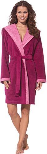Morgenstern Bademantel Damen in Farbe Fuchsia mit Kapuze Frottee-Bademantel Baumwoll- Bademantel Dusch-Bademantel in Größe XS Cotton Rot