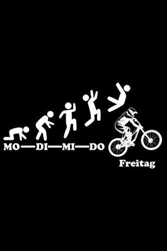 Downhill Woche Endlich Freitag Wochenende: DIN A5 Doted Gepunktet 120 Seiten / 60 Blätter Notizbuch Notizheft Notiz-Block Downhill Fahrrad MTB Mountainbike Bike Geschenke