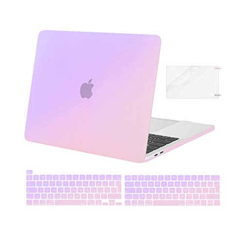 MOSISO Compatible with MacBook Pro 13 inch Case M1 2016-2020 Release A2338 A2289 A2251 A2159 A1989 A1706 A1708, Plastic Gradient Hard Shell Case & Keyboard Cover Skin & Screen Protector, Purple
