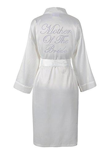 Varsany Badjas voor bruidsmoeder met satijn, vlies en strass, Engelse opschrift, ochtendjas, Kimono, personaliseerbaar