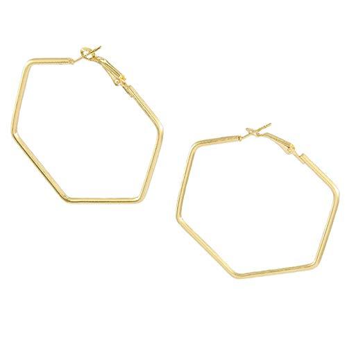 YJTT Punk Fashion Jewelry Glatte Hexagon Big-Band-Ohrringe for Frauen Lady Large Geometric Hohl Statement Schleifenohrring Geschenke (Color : Gold)