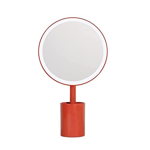 Espejo de Maquillaje LED, Espejo de Maquillaje de Escritorio, Diseño de portalápices, Atenuación de Dos Niveles, Adecuado para dormitorios Familiares, Rojo