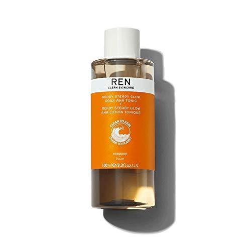 REN Clean Skincare Glow Tonic - Daily Facial Brightening - Exfoliate, Hydrate & Even Skin Tone with Resurfacing AHAs & BHAs - Cruelty Free & Vegan Pore Reducing Toner, 3.3 Fl Oz