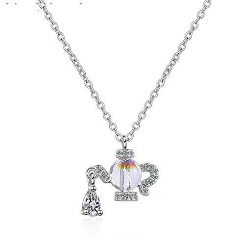 Fnito Collar Caldera en Forma de gradiente de Agua Moonstone Colgante Collar para Mujeres Accesorios de joyería