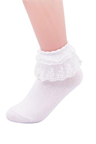 SEMOHOLLI Women Ankle Socks,Pearl Lace Ruffle Frilly Comfortable No-Show Cotton Socks Princess Socks Lace Socks (1 Pairs-white)