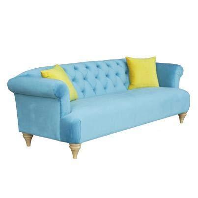 Luxus Home And Garden - Sofá de 3 plazas, tapizado en tela de terciopelo azul marino, 225 x 87 x 78 cm