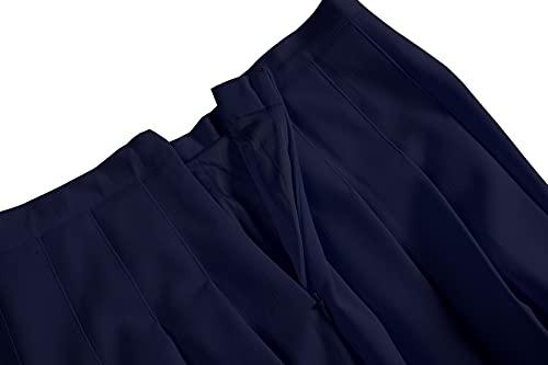 EXCHIC Mujer Plisado Cintura Alta Casual Patinador Estilo Universitario Faldas (Azul Marino, M)