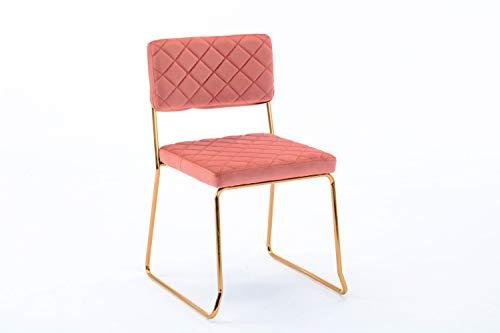 Duhome 2X Silla de Comedor diseño Retro Silla tapizada con Patas de Metal Dorado 8108B, Color:Rosa, Material:Terciopelo
