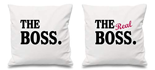 The Boss The Real Boss Housse de coussin Blanc 40,6 x 40,6 cm