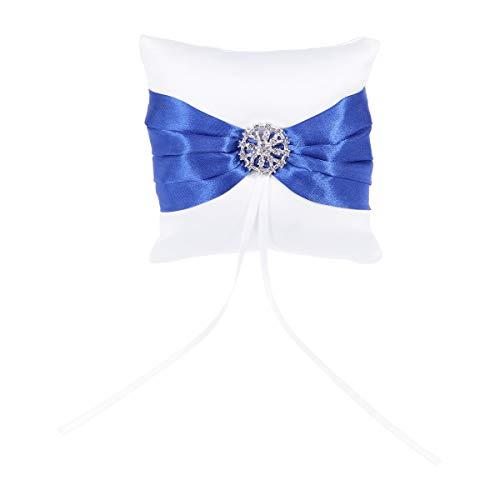 TOYANDONA Hochzeit Ringkissen Blau Bowknot Strass Braut Ring Inhaber Halter Kissen Hochzeit Ring Box für Hochzeitsdekoration