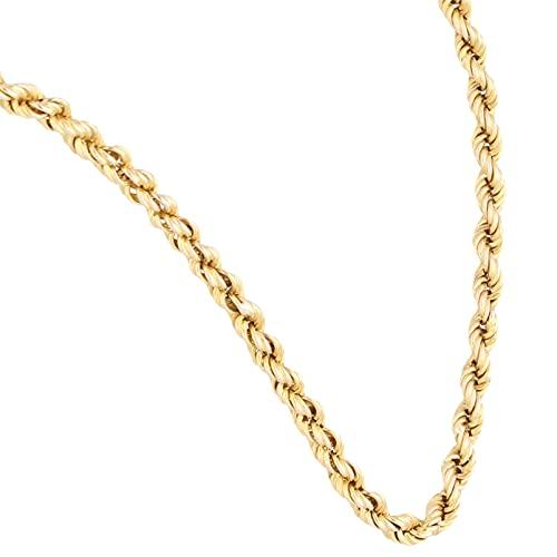 Jollys Jewellers Cadena de oro amarillo de 9 quilates de 51,4 cm, cadena de cuerda sólida (3 mm de ancho)   Collar de lujo para mujer