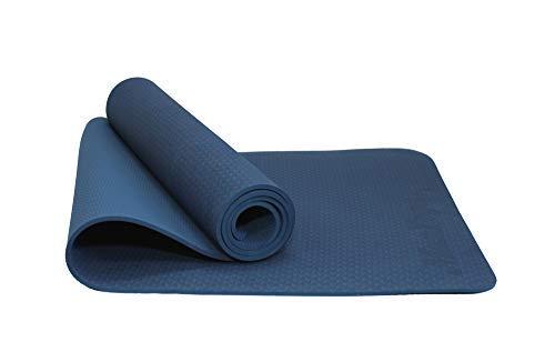 MAXYOGA MaxDirect Colchoneta para Yoga, Pilates, Gimnasia de Material Ecológico TPE. Esterilla Antideslizante Muy Ligera de Grosor de 6mm, tamaño 183cm x 61cm. Azul Solo