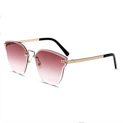 WSYGHP Gafas de sol para mujer, gafas de sol coloridas sin marco, película marina, posando modelos femeninos, gafas de sol con diseño de orejas de gato, color de cristal, gafas de sol (color: rojo)