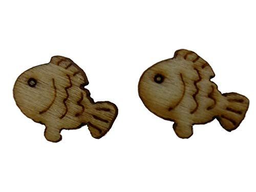 Ohrringe Ohrstecker Stecker braun Holz Fisch Aquarium Natur Barsch 9688