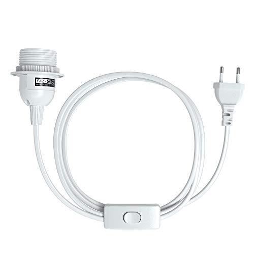 EAZY CASE E27 Lampenfassung mit 3,5 m Kabel, Schalter, Schraubring für Lampenschirm und Netzstecker - ideale Lampenaufhängung für Hängeleuchten, Pendelleuchten, DIY Lampe, Weiß