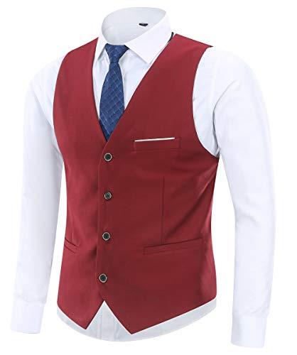Yingqible Chaleco Hombre Casual Boda V-Cuello Traje Negocios con Botones Sin Mangas Retro Vestir Banquete Ceremonia Blazers (Large, Rojo)