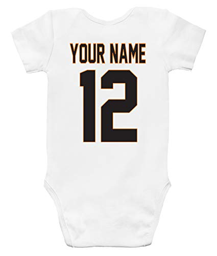 Custom Personalized Baby Bodysuit Basketball Jersey Front and Back (3-6 Months) White