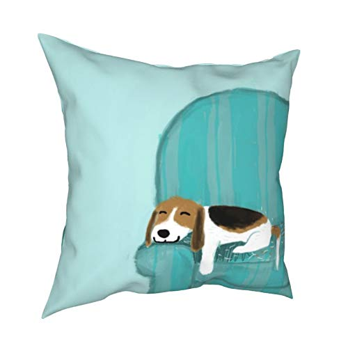 Throw Pillow Cover,Happy Couch Dog Cute Beagle Relaxing Decorative Throw Pillow Cases Super Soft Square Cushion Covers for Sofa Couch Car Bedroom Home Decor 18 x 18 Inch