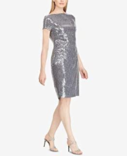 RALPH LAUREN Womens Silver Sequined Short Sleeve Boat Neck Above The Knee Cocktail Dress US Size: 12