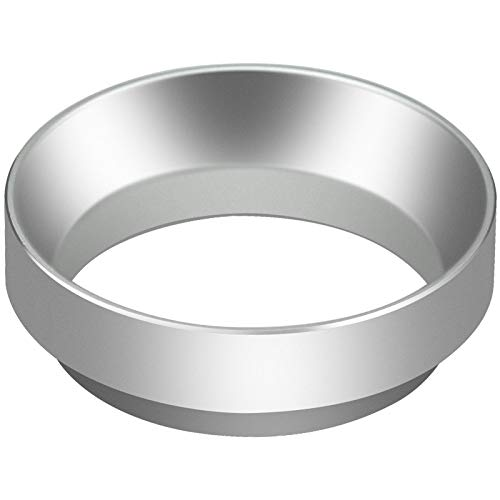 ZHENA 58mm Kaffee Dosierring Siebträger Trichter Espresso Dosiertrichter aus Aluminium für Siebträger Kaffeemehl Mühle Kaffeemaschine Aufsatz Fülltrichter Tampern (Silber)
