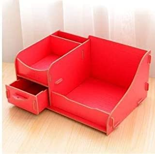 DSWSSH Decorative Jewelry Boxes Cosmetic Storage Box Drawer Wooden Type Wooden Cosmetic Storage Box Wooden Table Dressing Table DSWSSH (Color : Red, Size : Small)