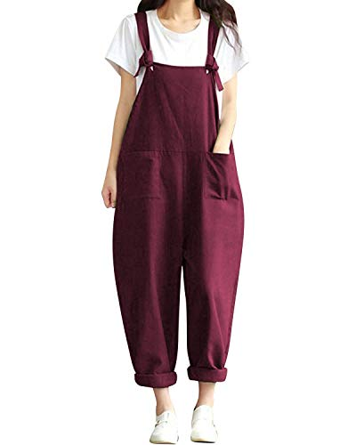 BBYES Women Sleeveless Adjustable Long Playsuit Jumpsuit Dungarees Plus Size Dark Red XL