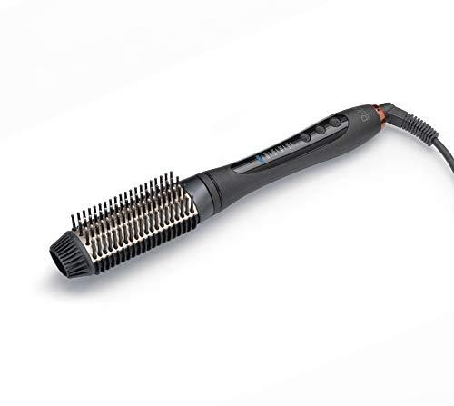 Diva Pro Styling Radiant Shine Brosse à vitesse droite et style Brosse à lisser - Réglage de température variable, Noir