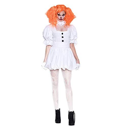 Disfraz De Halloween Cosplay Vampire Ghost Doll Disfraz De Pennywise para Mujer Disfraz De Payaso Espeluznante Disfraz De Carnaval,Blanco,M